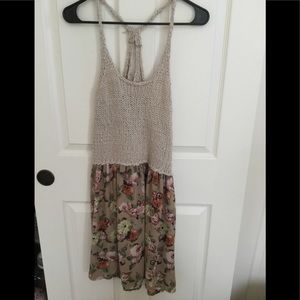 tan Knitted and flowered dress from Easel